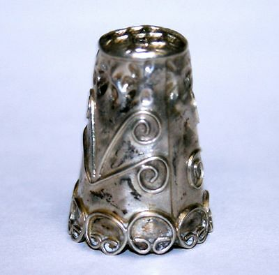 Vintage Ornate Flower Pattern Sterling Silver .925 Made in Mexico Thimble