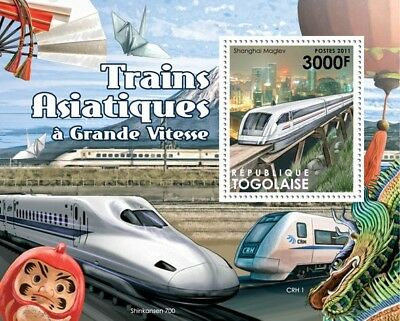 Asia High Speed Trains (Shanghai Maglev) Railway Stamp Sheet (2011 Togo)