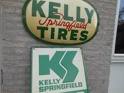 """1961 Kelly Springfield Tires Original Steel BUBBLE Sign 36"""" X 22""""  +  FREE sign"""