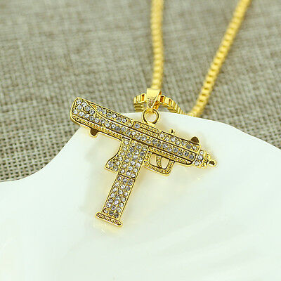 "Gold Uzi Pendant Hip-Hop 24"" Chain Necklace Chain Crystal  Machine Gun"
