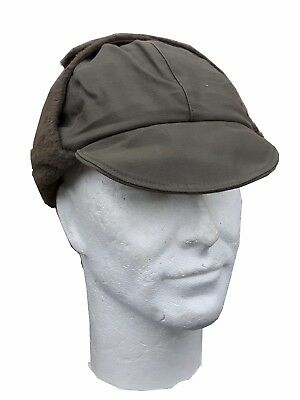 Genuine Surplus German Ex Army Winter Hat Wool Lined Olive Green Peak Cap