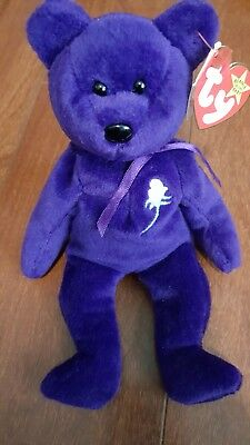 Ty Beanie Baby PRINCESS (Diana) Bear from 1997 - Rare and Retired with errors