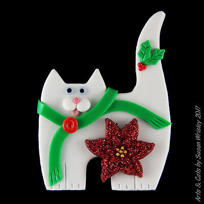 Standing White Kitty Cat, Green Scarf & Glittery Poinsettia Holiday Pin - SWris
