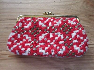 Vintage Mini Welsh Wool Red White Geometric Double Purse