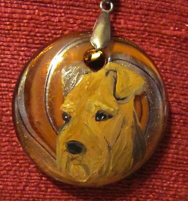 Airedale Terrier hand painted on Murano glass round pendant/bead/necklace