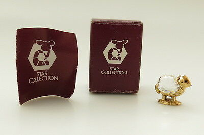 Vintage STAR COLLECTION Gold Metal Crystal Figurine Austria miniature Sheep MIB