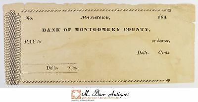 BLANK 1840's Norristown Bank Of Montgomery County Check *536