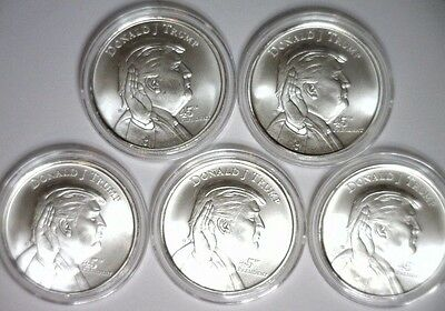 LOT of 5 ~ DONALD TRUMP Silver Round 1 Troy oz .999 Elemetal Mint 5oz total