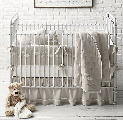 Nwt Restoration Hardware Baby & Child Boucle Cloud Piped Crib Skirt Mist