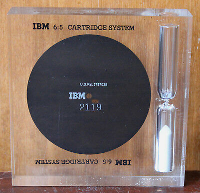 Vtg. 1975 Salesmans IBM 6:5 Cartridge System Magnetic Disc Lucite Paperweight