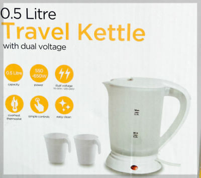 New Dual Voltage Small Electric Travel Kettle 0.5 Litre white Colour + 2 CUPS