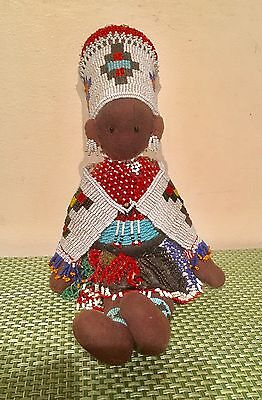 Beautiful Zulu Handmade Beaded South African Doll 12 Inches Middle 20th Century