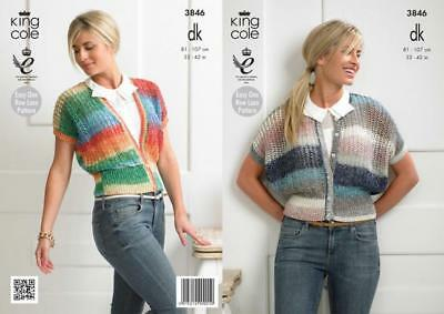 "King Cole DK Knitting Pattern 3846:Womens  Cardigans 32""-42"""