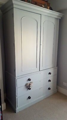 Antique Victorian painted double mahogany linen press wardrobe with drawer base