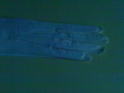 """Ivory Kid Leather Vintage Opera Gloves 20"""" Long Pearl Accents Sm Med Size Deco"""