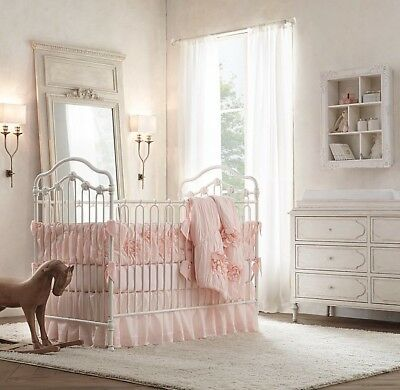 NWT $79 Restoration Hardware Baby & Child Gathered Voile Crib Skirt Petal Pink