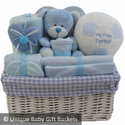 Baby gift basket/hamper boy first football baby shower baby gift with keepsakes
