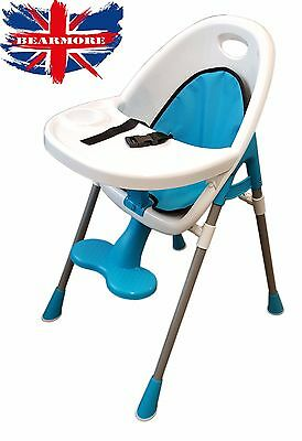Blue Baby High chair Safety Comfort  Feeding Chair Padded Seat footrest tray