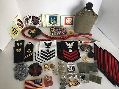 Lot of Military Pins, Patches, Metals, Ribbon Bars, Decals And Miscellaneous
