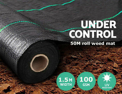 1.5m x 50m ground cover fabric landscape garden weed control membrane heavy duty