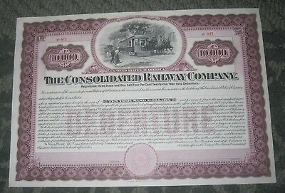 1905 Bond Certificate - The Consolidated Railway Company - New Haven Connecticut