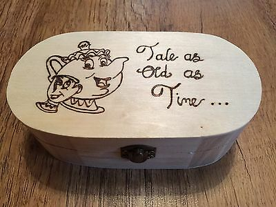 Disney Beauty & The Beast Wooden Box, Can Be Personalised Mrs Potts & Chip