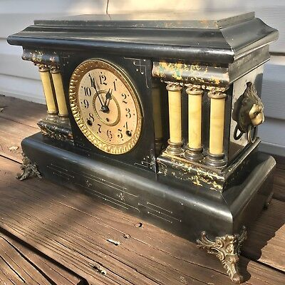 SETH THOMAS Adamantine Clock Shelf/Mantle 6 columns Clock Complete NO RESERVE!