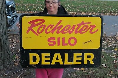 "Large Vintage 1950's Rochester Silo Dealer Corn Farm 2 Sided 36"" Metal Sign"