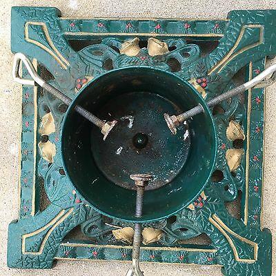"Large Old Green Cast Iron Christmas Tree Stand 14""X14"" Deco Arts and Crafts Bell"