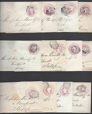 UK GB 1850s COLL OF 12 COVERS ONE PENNY QUEEN VICTORIA WITH VARIOUS NUMERAL TOWN