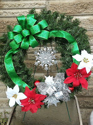 Cemetery Christmas Wreath with Green Bow and Red and White Poinsettias