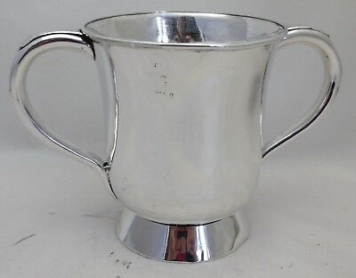 Antique Silver Plate One 1 Pint Baluster Double Handle Tankard Fox Hunting