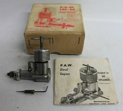 P.A.W. 149-DS Vintage 1.49CC Plain Bearing Model Aeroplane Diesel Engine In Box
