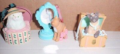 Set Of 3 Avon Cat Collectible Christmas Ornaments So Cute~ Siamese, Tabby, White