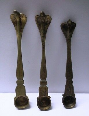 Lot Of 3 Vintage Indian Ethnic Ritual Set Of Oil Spoon With Snake Head For Lamps