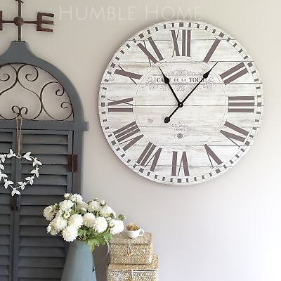 LGE 70cm Vintage Rustic Wall Clock/French Provincial/Hampton's/Neutral Off White