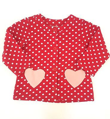 H M Girls Red Cardigan Sweater w/ Pink Polka Dots Heart Pockets Size 6-9 Months