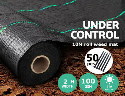 FREE 50 PEGS + 2m x 10m 100g Weed Control Ground Cover Membrane Landscape Fabric