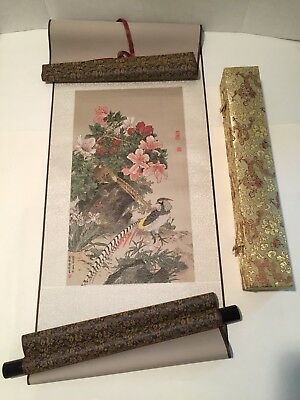 Chinese Silk Scroll Wall Hanging - Chinese Golden Pheasants-in Storage Box-NEW