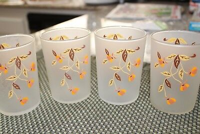 Jewel Tea Autumn Leaf 8 ounce frosted tumbler drinking glasses, set of 4