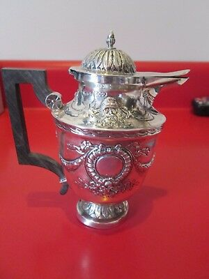1801 Ornate 930 Sterling Silver Lidded  SYRUP JUG w/ FACES - LONDON Silversmith