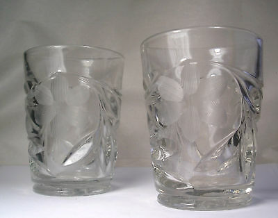 A Pair of Antique Pressed Engraved Tumblers A25