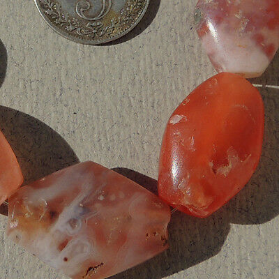8 lovely bicone shaped ancient pink agate african stone beads mali #3933