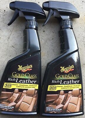LOT OF 2 Meguiar's G10916 Gold Class Rich Leather Cleaner & Conditioner 15.2 oz.