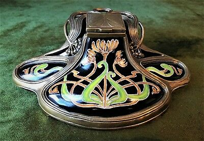 Art Nouveau Art Deco Style Porcelain and Brass Inkwell