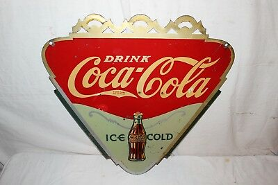 "Rare Vintage 1933 Drink Coca Cola Ice Cold Soda Pop 2 Sided 23"" Metal Sign"