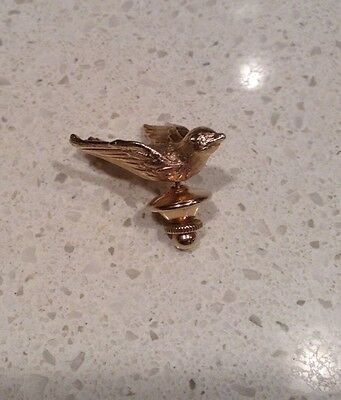 "Bird Lapel Pin Miniature 1"" Brass Avon Hat Vintage Gold Tone Sparrow"