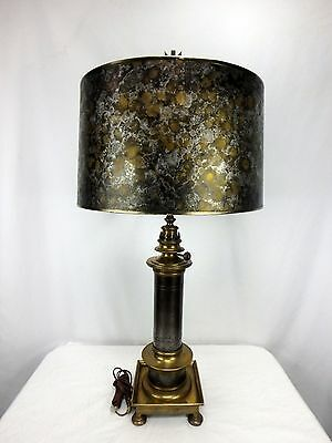 Vtg Chapman French 2 Tone Brass Steel Table Lamp Black & Gold Shade Arrow Finial