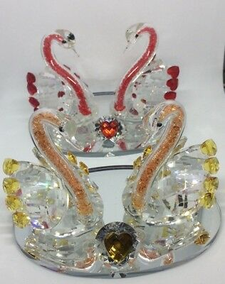 Crystal Glass Swan Pair Red Amber Blue Heart Ornament - Christmas Gift - Boxed