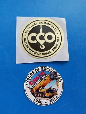 CCO SAFETY CRANE SERVICE Training Certification Union Equipment Hardhat Stickers